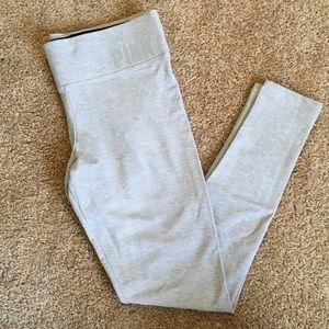 PINK yoga fleece lined gray leggings size medium